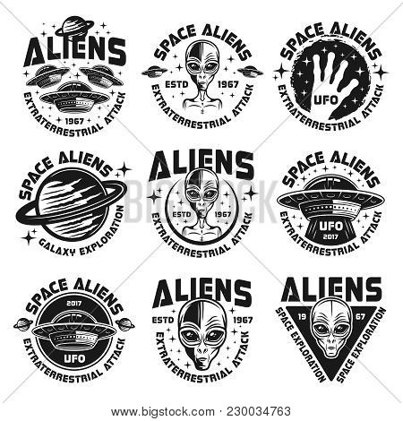 Ufo And Aliens Collection Of Nine Emblems, Labels, Badges, Stickers And Prints Isolated On White Bac