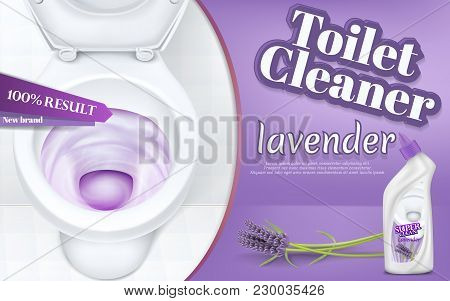 Vector Promotion Banner With Toilet Cleaner, Realistic White Ceramic Bowl With Flushing Water And De