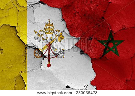 Flag Of Vatican And Morocco Painted On Cracked Wall