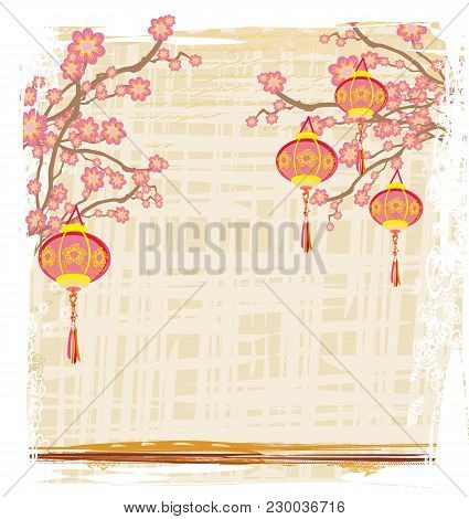 Chinese New Year With Lanterns - Card , Vector Illustration