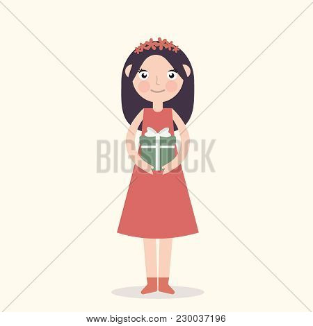 Young Girl With A Box In Hands. Close Up Portrait Of Smiling Young Woman Holding Present In Her Hand