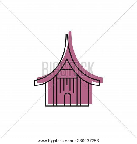 Asian House Icon. Doodle Illustration Of Asian House Vector Icon For Web And Advertising