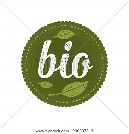 Bio Calligraphic Handwriting Lettering And Leaf. Vector White Vintage Illustration Isolated On Dark