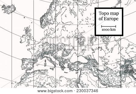 Physical Map Of Europe. Ancient Detailed Cartography. Highly Detailed Vector Illustration