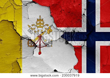 Flag Of Vatican And Norway Painted On Cracked Wall