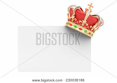 Blank Card With Golden Crown, 3d Rendering Isolated On White Background