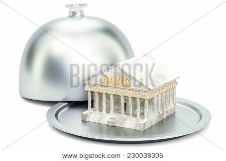 Restaurant Cloche With Bank, 3d Rendering Isolated On White Background