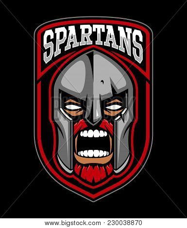 Spartan Warrior Logo Design. Sport Corporate Identity. Text Is On The Separate Layer