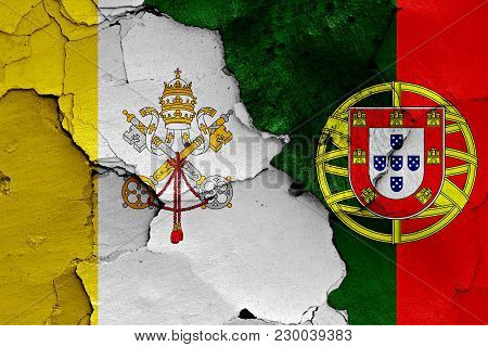 Flag Of Vatican And Portugal Painted On Cracked Wall