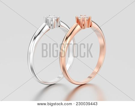 3d Illustration Two Rose And White Gold Or Silver Engagement Solitaire Double Prong Basket Diamond R