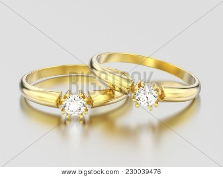 3d Illustration Two Yellow Gold Engagement Solitaire Double Prong Basket Diamond Rings On A Gray Bac