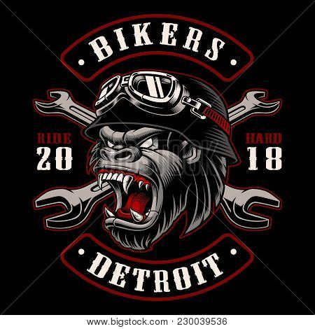 Gorilla Biker With Crossed Wrenches. Design Of Patch With Motorcycle Rider. Graphic For Shirt . Colo