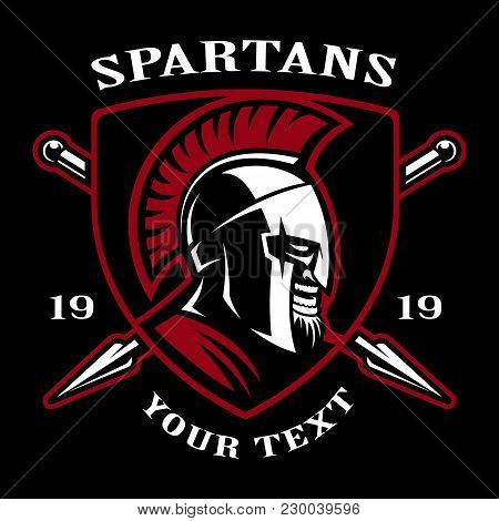 Emblem Of Spartan Warrior. Logo Design On Dark Background. Text Is On The Separate Layer.