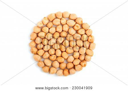 Chickpea In The Form Of A Circle The Top View.isolated On White Background.heap Of Unprepared Chickp