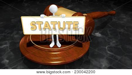 The Original 3D Character Illustration Law Concept Holding A Sign That Reads Statute