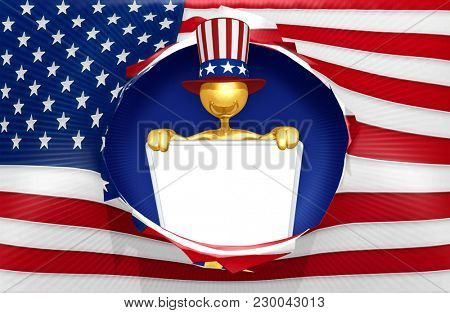 The Original 3D Character Illustration Wearing An Uncle Sam Hat With A Blank Sign