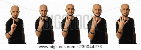Cheerful Young Man Showing Gesture From One To Five With His Fingers Isolated On White Background