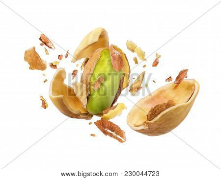 Pistachio Is Torn To Pieces On White Background