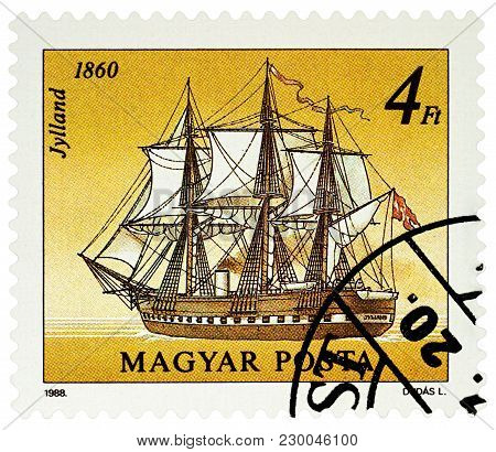 Moscow, Russia - March 07, 2018: A Stamp Printed In Hungary Shows Danish Frigate Jylland (1860), Ser