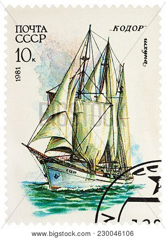 Moscow, Russia - March 07, 2018: A Stamp Printed In Ussr (russia) Shows Three-masted Schooner
