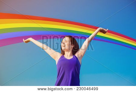 Young Happy Brunet Girl With Rainbow At Background