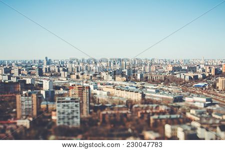 True Tilt-shift View Form Hight Point Of The Urban Cityscape: A Residential District With Many House