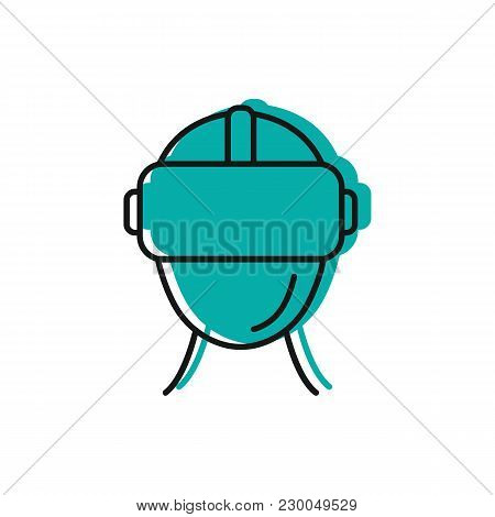 Virtual Reality Helmet Icon. Doodle Illustration Of Virtual Reality Helmet Vector Icon For Web And A