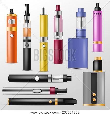 Vapor Vector Vaping Device And Modern Vaporizer E-cig Illustration Set Of Vapes And Cigarette Isolat