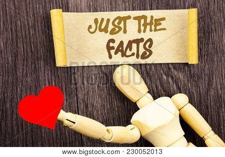 Text sign showing Just The Facts. Conceptual photo Truth Fact Accuracy Honest Concept For Factual Actual  written Sticky Note Love Heart Holding By Sculpture the wooden background. poster