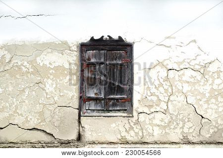 The Texture Of The Plastered Wall With Old Wood Window In High Resolution. Textures Mapping For Comp