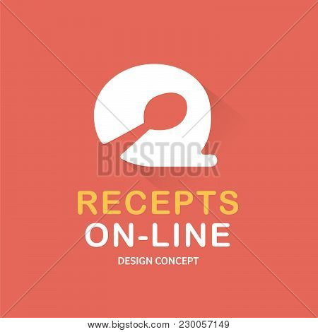 Recipes On-line, Food Logo, Cooking Logo, Bubble, Vector Logo Template. Recipes On-line Food Restaur