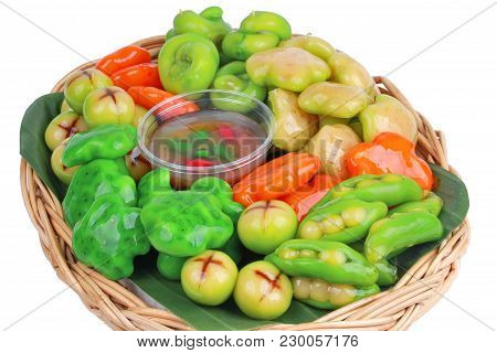 Isolated Of Popular Thai Dessert In Colorful Deletable Imitation Fruits,mung Beans That Make To Frui