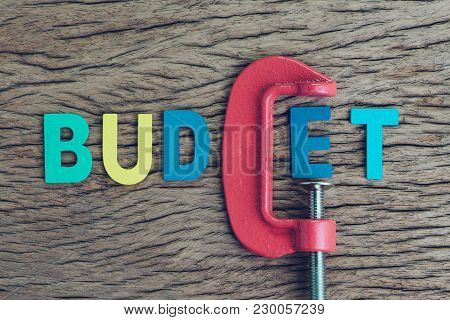 Finance, Economy And Business Squeezing Idea, Colorful Alphabet Of The Word Budget Using Red Clamp A