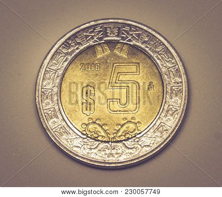 Five Mexican Pesos Coin
