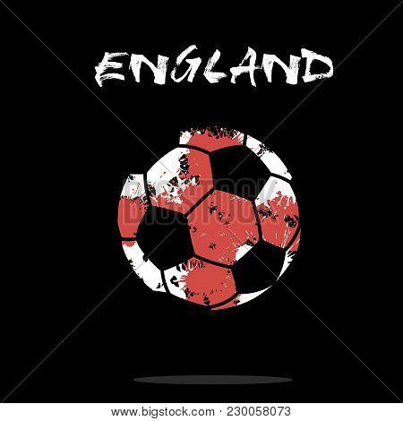 Abstract Soccer Ball Painted In The Colors Of The England Flag. Vector Illustration