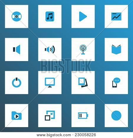 Multimedia Icons Colored Set With Start, Play, Display And Other Megaphone Elements. Isolated Vector