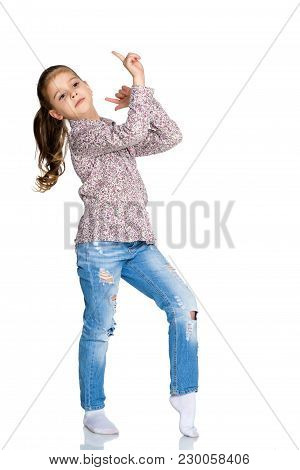 Little Girl Gesticulating. The Concept Of People, Children, Childhood. Isolated On White Background.