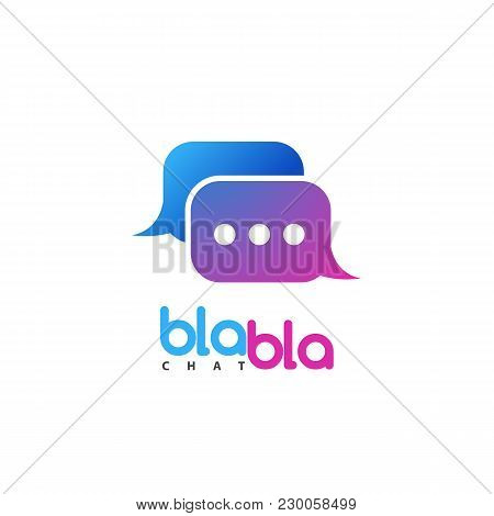 Vector Chat Logo. Social Media Talking Isolated Logotype. Talk Bubble Icon On White Background