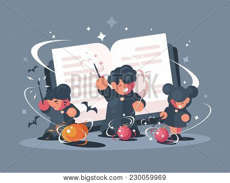 School Of Witchcraft And Sorcery. Students With Magic Wands. Vector Illustration