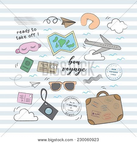 Travel airplane doodle set. Playful, cute, and flexible doodle set collection for brand who has fun style. Doodle art suits for kids and traveling theme. poster