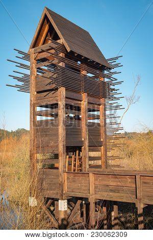 Bird Observation Tower At Lagoon Park Of Pateira De Fermentelos, Portugal.