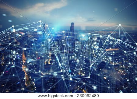 Fast Internet Connection In The City. Abstract Technology Background