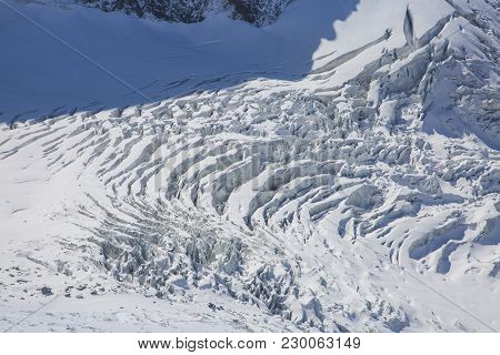 Ariel View Of A Glacier Near Mont Blanc In French Alps