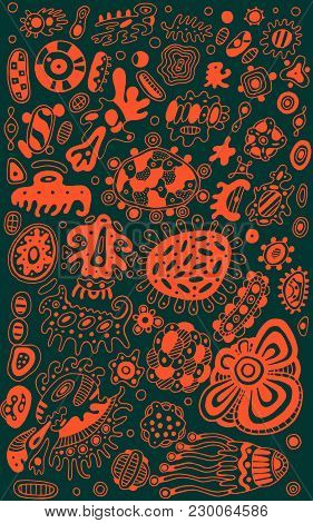 Tribal Ethnic Doodle Ancient Ethnic Background. Tribal And Boho Ornament Inspired By Ocean Lifeforms