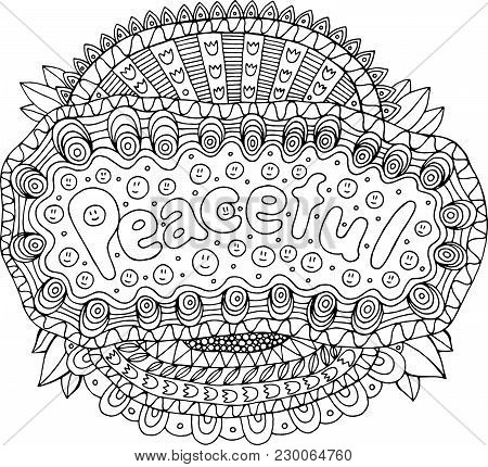 Coloring Page For Adults With Mandala And Peaceful Word. Doodle Lettering Ink Outline Artwork. Vecto