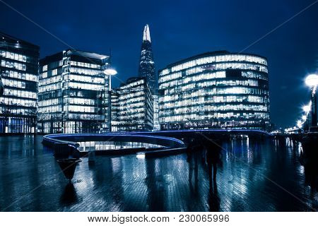 LONDON, UK - FEBRUARY, 2016: the Shard, The City Hall and office buildings at night, London, Uk