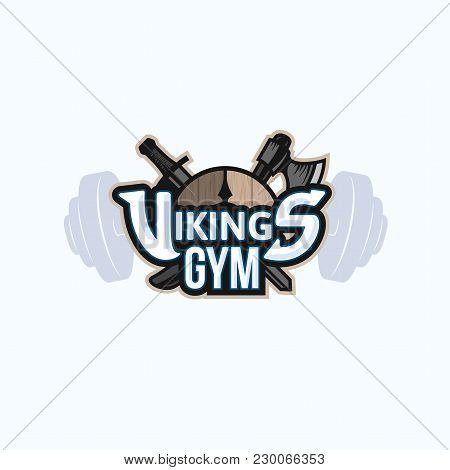 Vikings Sport Logo Emblem For Gym, Long Military Ship Drakkar, Shield With Crossed Battle Ax And Swo