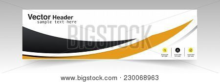 Curve Black Yellow Header Design Background Vector Image