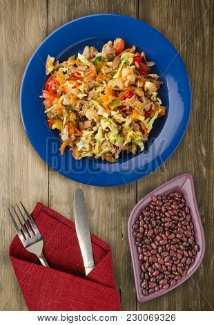 Salad With Chicken Stomachs With Vegetables (carrots, Onions, Peppers, Cabbage, Tomato, Broccoli). S