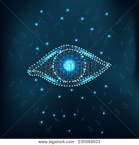 Eye With Polygon, Line, Connecting Dots On Green Sky. Polygonal Low Poly Design With Triangles. Scie